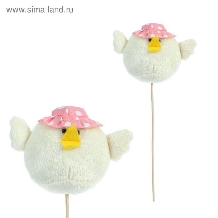 """Мягкая игрушка на палочке """"Цыпленок"""" в шляпке, цвета МИКС"""