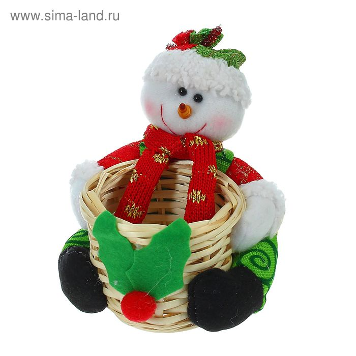"Конфетница ""Снеговик"" в шарфике и колпаке, 80 г"