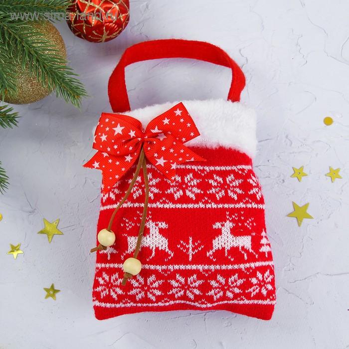 """Подарочная сумка """"Олени"""", с бантиком, 200 г"""