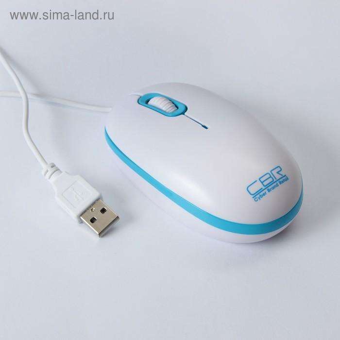 Мышь CBR CM-180 Blue, оптическая, проводная, 1200 dpi, провод 1.3 м, USB, бело-голубая