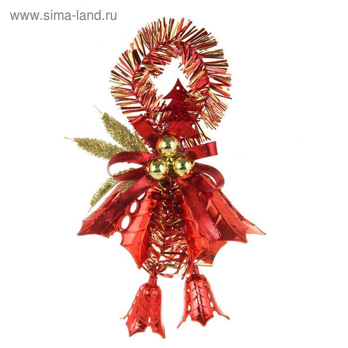 """Украшение новогоднее """"Колокольчики с мишурой"""" красные 14*20 см"""