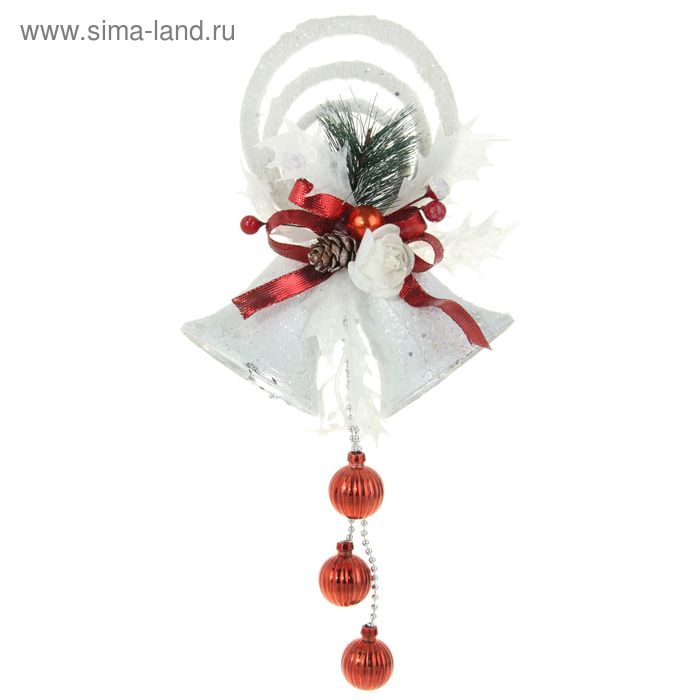 """Украшение новогоднее """"Колокольчики с красной лентой и розочкой"""" 15*32 см"""