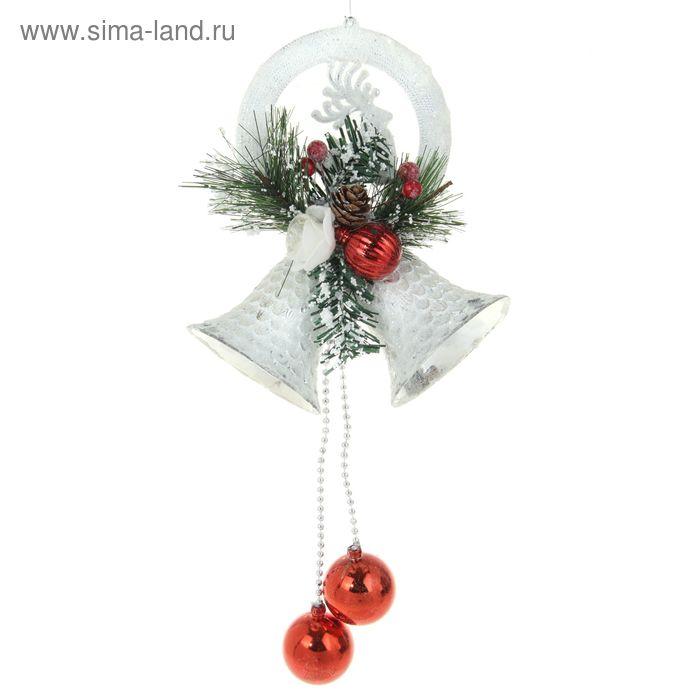 """Украшение новогоднее """"Колокольчики белые с красными шариками"""" 15*34 см"""