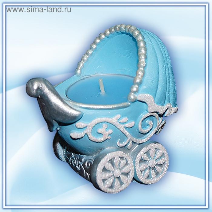 """Подсвечник со свечой """"коляска"""" голубой арома"""