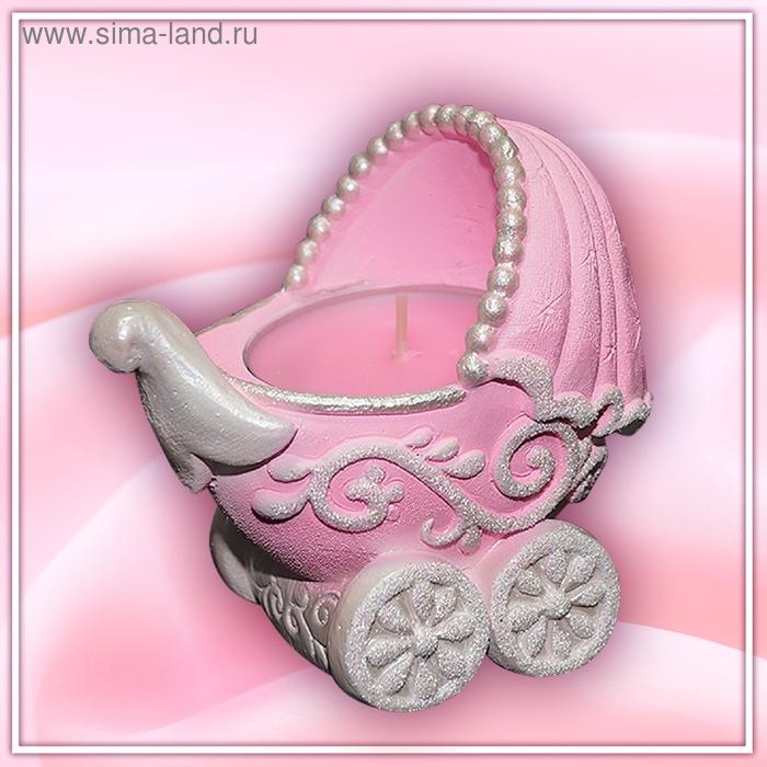 """Подсвечник со свечой """"коляска"""" розовый арома"""