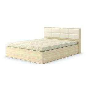 Кровать 160  Сонет  ПМ  1685x906x2136    дуб млечный/кож.зам.