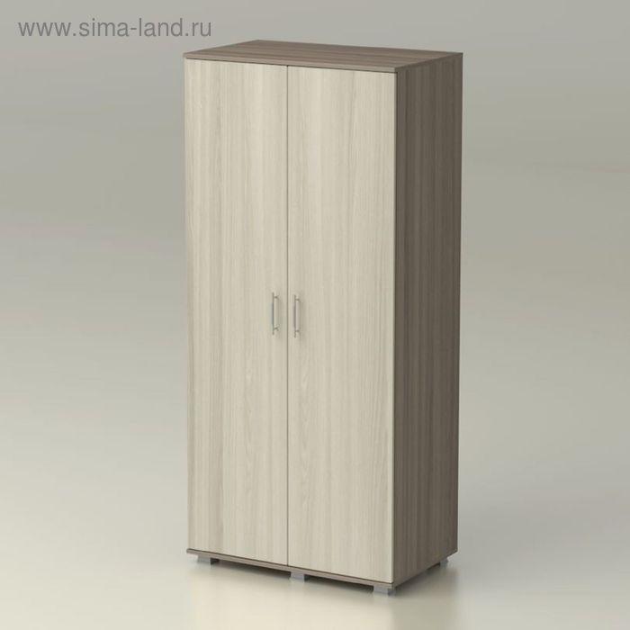 Шкаф 2 х створчатый с полками КАМЕЯ 858х522х1900  ясень шимо темный/ясень шимо светлый