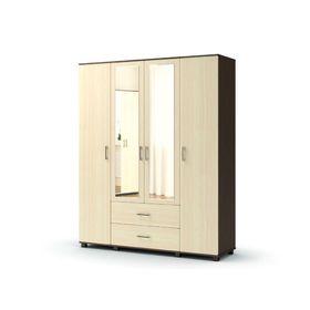 Шкаф 4 х створчатый с ящиками, с зеркалом МАКСИМ 1690х522х2100  венге/дуб млечный