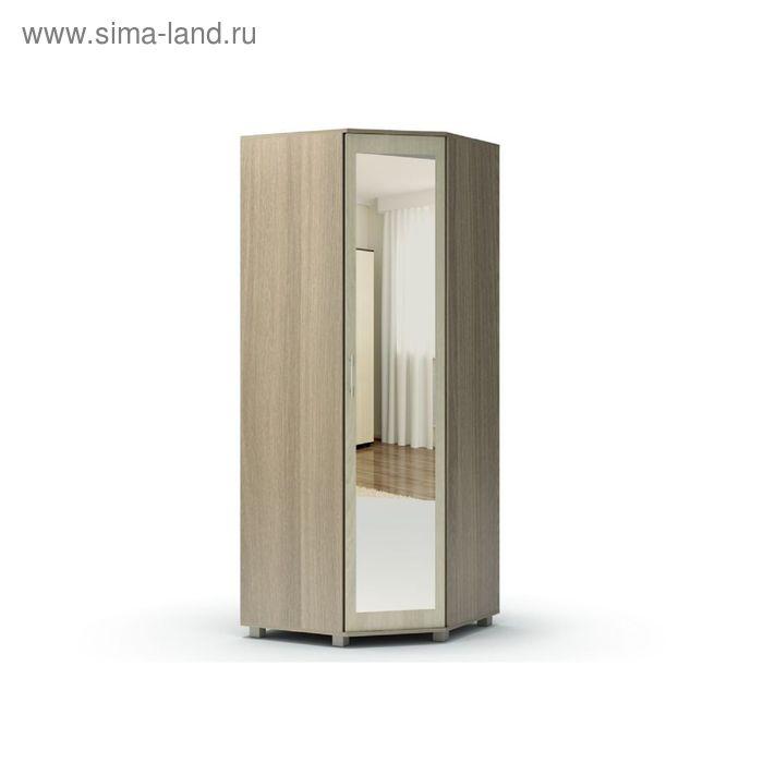 Шкаф угловой с зеркалом МАКСИМ 860х860х2100  ясень шимо темный/ясень шимо светлый