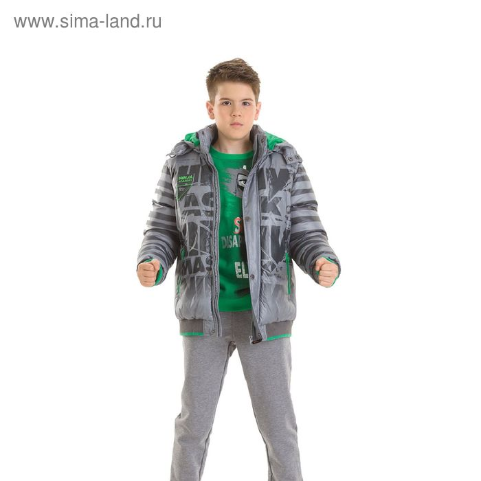 Куртка для мальчиков, 10 лет, цвет  серый BZWL473