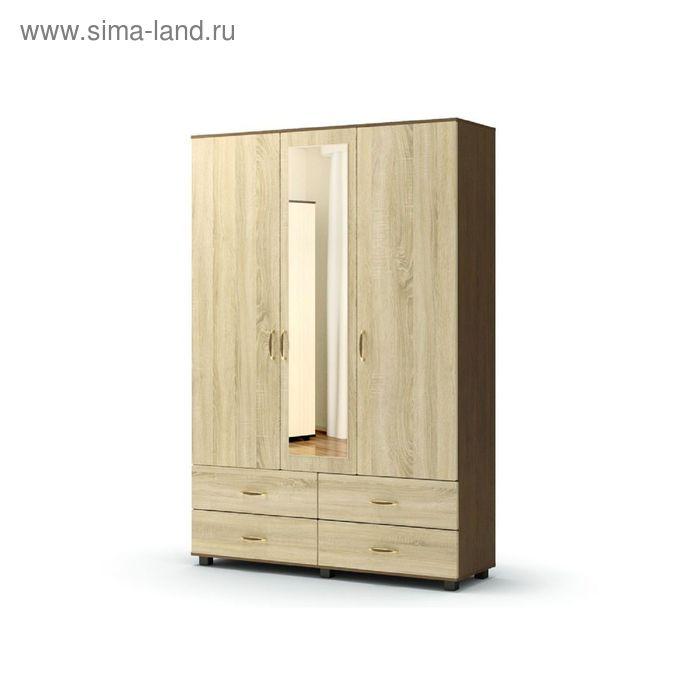 Шкаф 3 4 с зеркалом ВИКОНТ 1428х440х2100  груша монтего/дуб сонома
