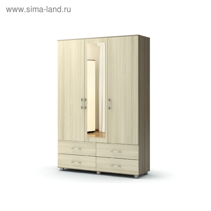 Шкаф 3 4 с зеркалом ВИКОНТ 1428х440х2100  ясень шимо темный/ясень шимо светлый