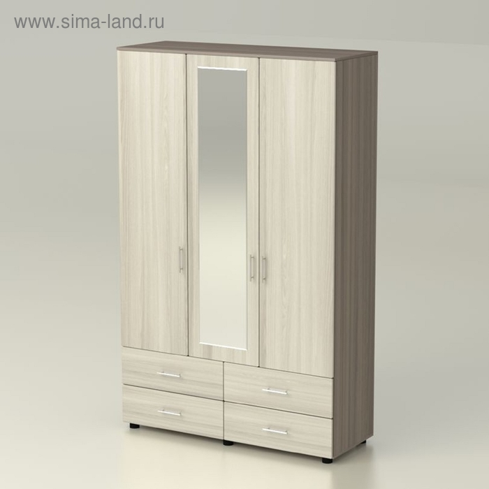 Шкаф  Сонет  3 4 с зеркалом 1420х522х2300  ясень шимо темный/ясень шимо светлый