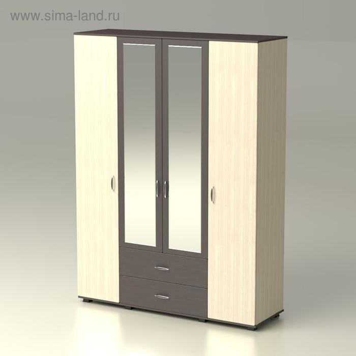 Шкаф 4 х створчатый с зеркалом  Рондо  1690х522х2300  дуб млечный/венге