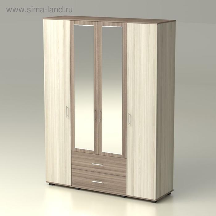 Шкаф 4 х створчатый с зеркалом  Рондо  1690х522х2300  ясень шимо светлый/ясень шимо темный
