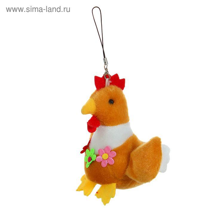"Мягкая игрушка - подвеска ""Петух"" цветки на груди, цвета МИКС"