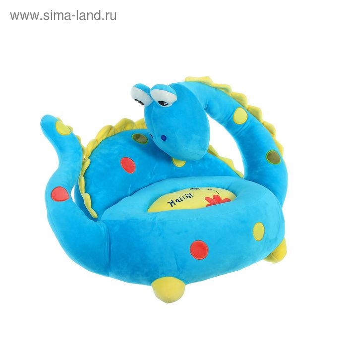"""Мягкая игрушка-кресло """"Динозаврик"""", большие глазки, цвет синий"""