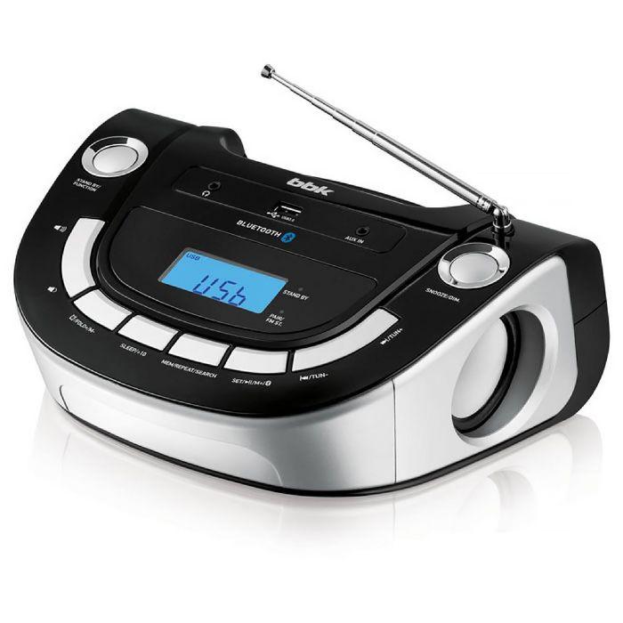 Аудиомагнитола BBK BS07BT, черный/серебро