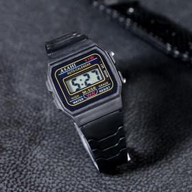 Часы наручные муж.электронные, с силик ремешком, черные
