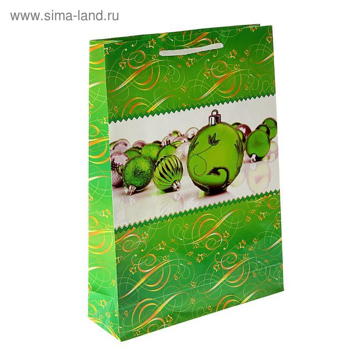 """Пакет подарочный """"Зеленые шары"""" 47 х 33 х 10 см"""
