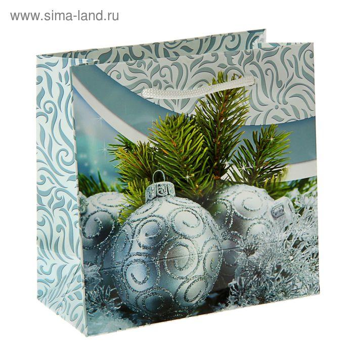 """Пакет подарочный """"Морозный день"""" 16 х 16 х 7.6 см"""