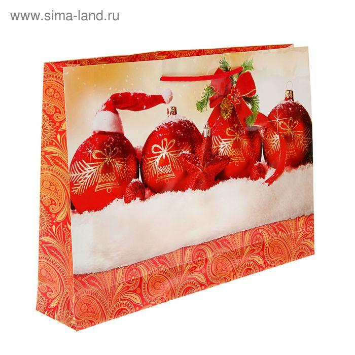 """Пакет подарочный """"Новогодняя гирлянда"""" горизонтальный 32,5 х 45 х 9 см"""
