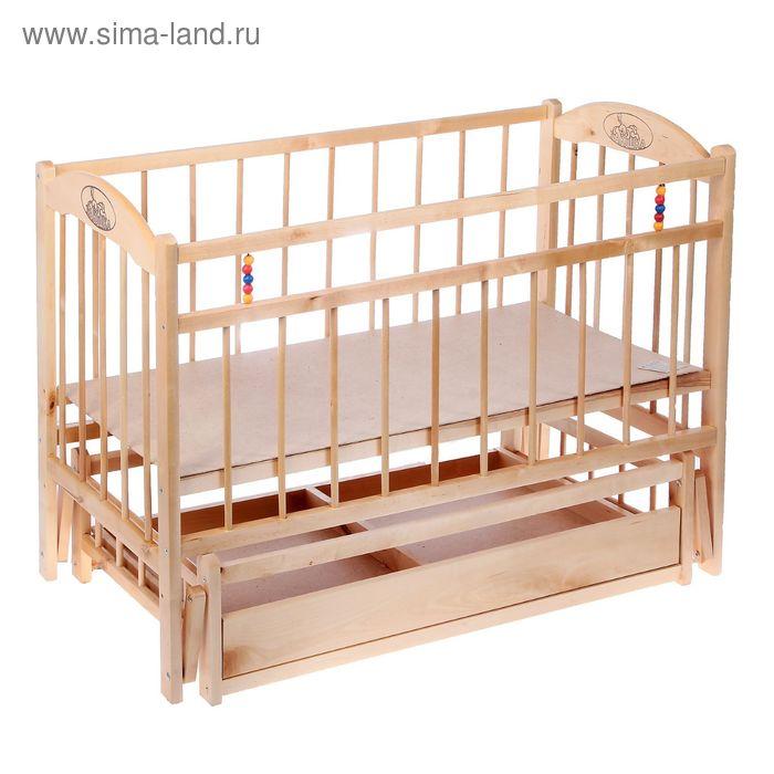 Детская кроватка «Заюшка» на маятнике или колёсах, с ящиком, цвет натуральный