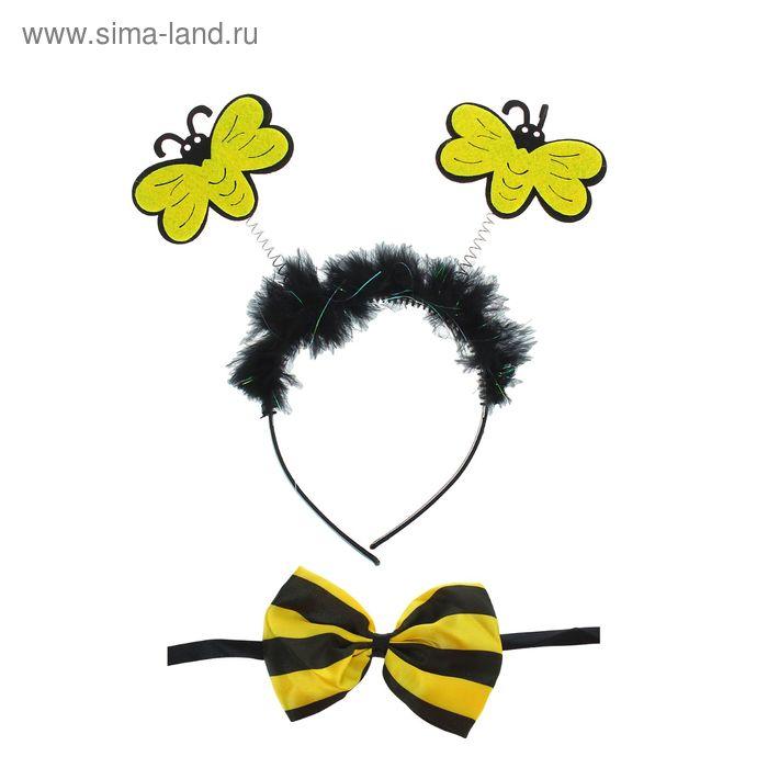 """Карнавальный набор """"Пчелка"""" 2 предмета: ободок, бабочка"""