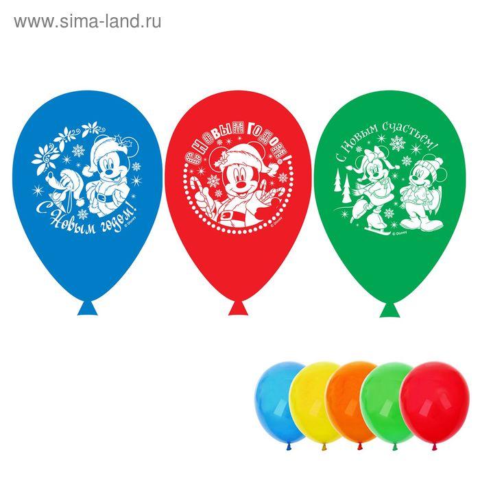 """Воздушные шары """"С Новым годом"""", Микки Маус и его друзья, (набор 5 шт) 12 дюйм"""