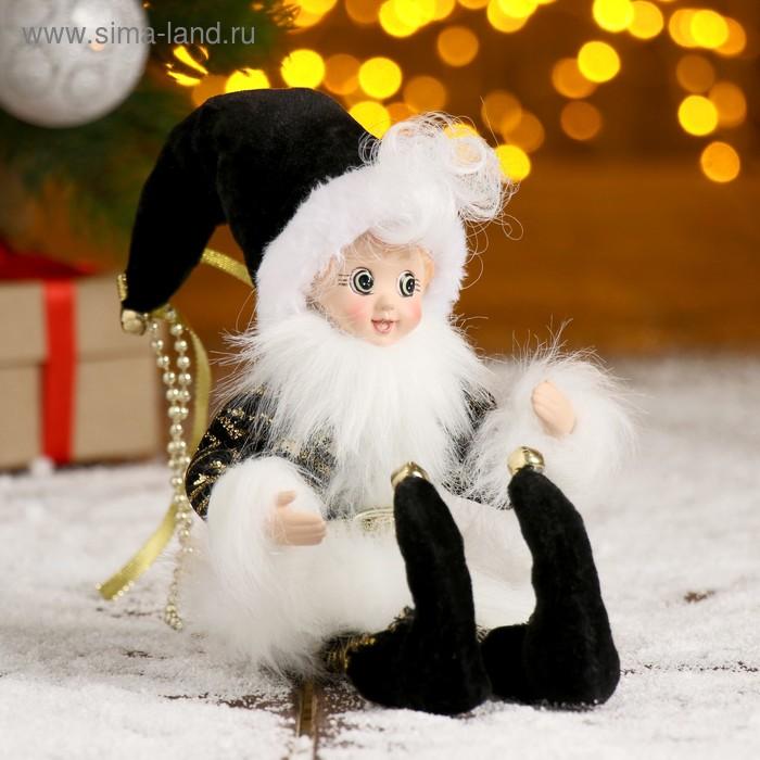 """Новогоднее украшение """"Шут"""" в чёрном камзоле с опушкой"""