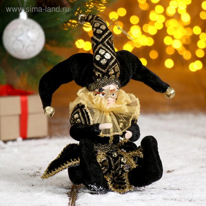 """Новогоднее украшение """"Шут с маской"""" в чёрном камзоле"""