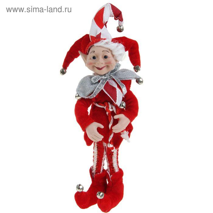 """Новогоднее украшение """"Шут"""" эльф в красном камзоле"""