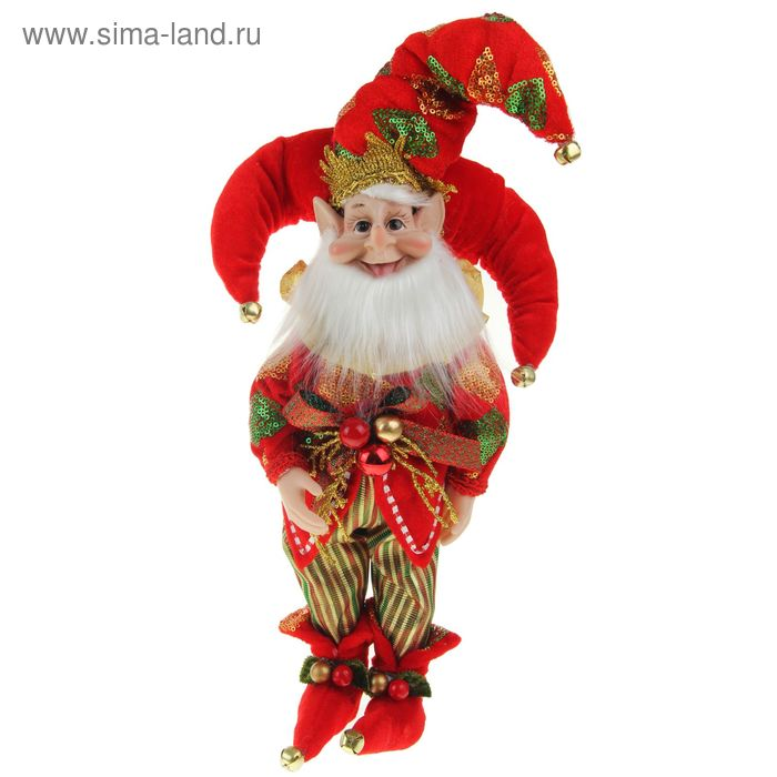 """Новогоднее украшение """"Шут"""" гном в красном камзоле и тройном колпаке"""