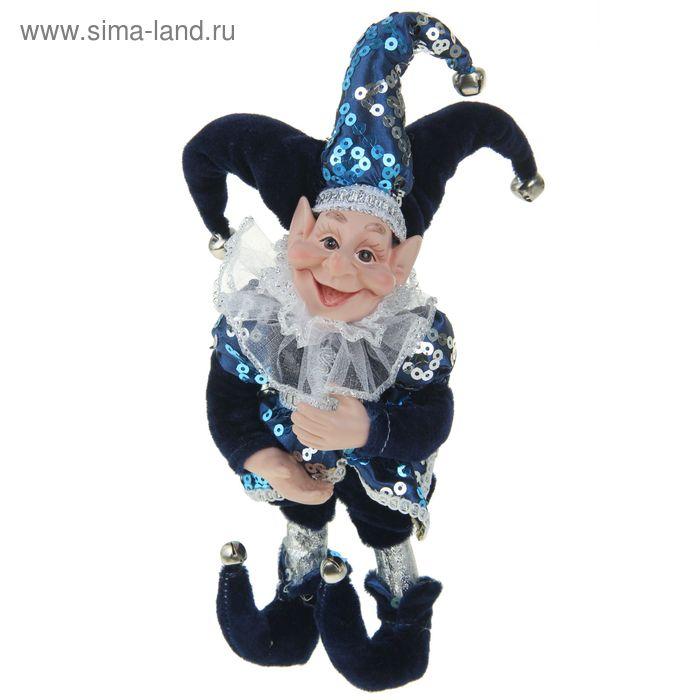 """Новогоднее украшение """"Шут"""" в синем камзоле"""