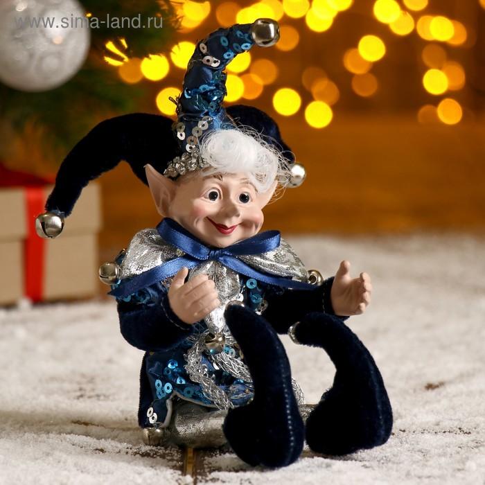 """Новогоднее украшение """"Шут"""" мальчик в синем камзоле"""