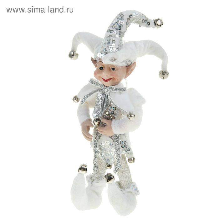 """Новогоднее украшение """"Шут"""" в белом камзоле"""