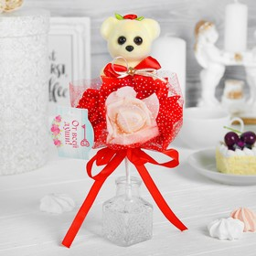 """Букет с мишкой """"Я люблю тебя"""", 3 цветка, цвет красный + белый"""