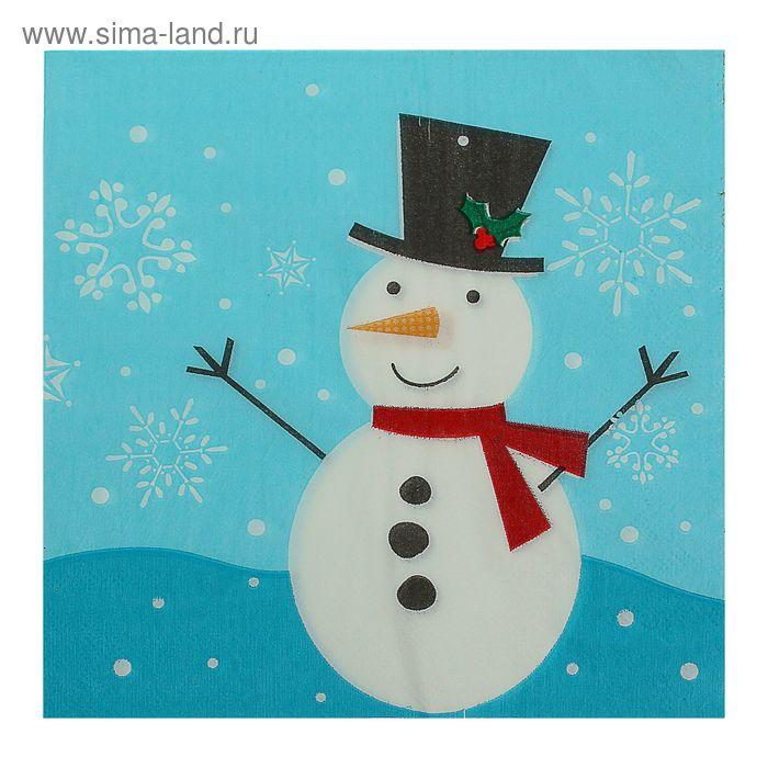 """Салфетки бумажные """"Снеговик"""" на синем фоне , 33 х 33 см, набор 20 шт."""