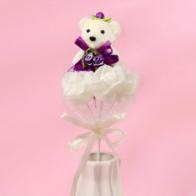 Букет с мишкой 'От всего сердца', 3 цветка, персиковый + белый Ош