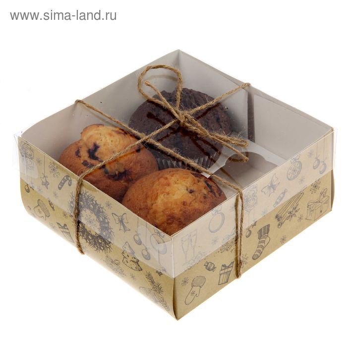 """Коробочка для кексов """"Подарочная"""", 16 х 16 х 7,5 см"""