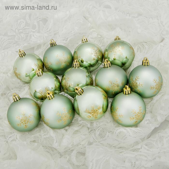 """Новогодние шары """"Снежинка"""" зелёные (набор 12 шт.)"""