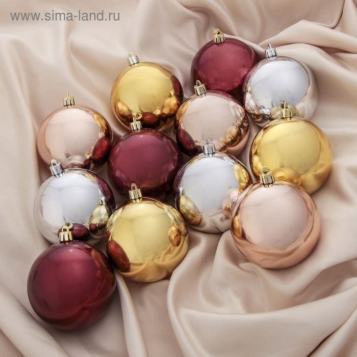 """Новогодние шары """"Тёплый глянец"""" (набор 12 шт.)"""