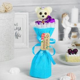 Букет с мишкой 'От всей души', цвет голубой Ош