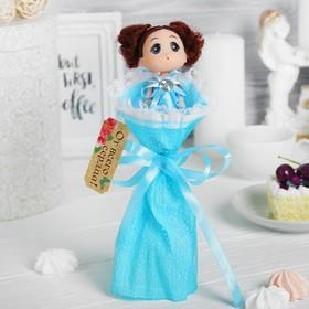 Букет с игрушкой 'От всей души!', цвет голубой Ош