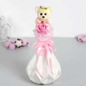 """Букет с мишкой """"От всей души!"""" + розовый цветок"""