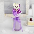 """Букет с мишкой """"От всего сердца"""" + сиреневый цветок"""