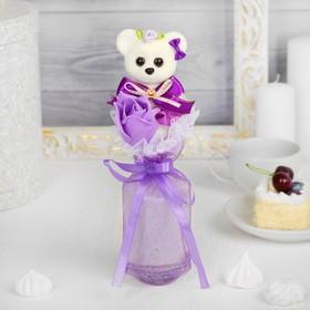 Букет с мишкой 'От всего сердца' + сиреневый цветок Ош