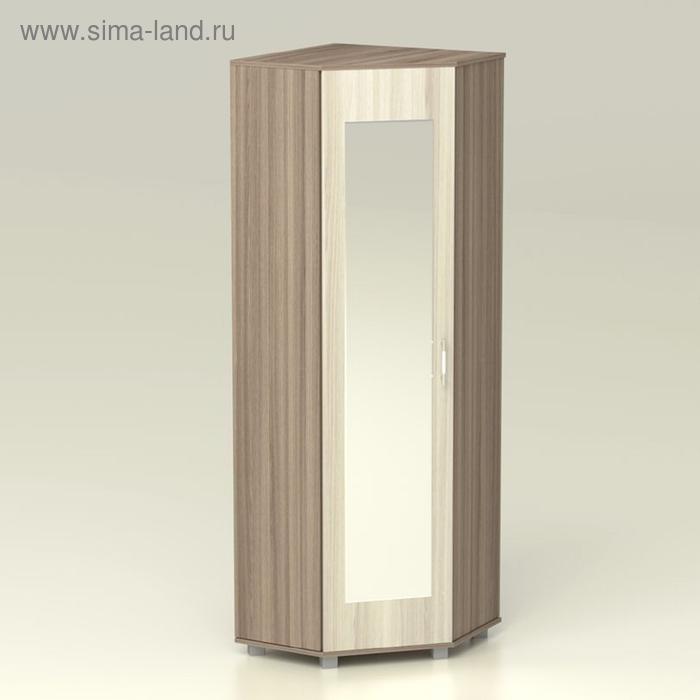 Шкаф угловой с зеркалом Надежда 661х661х2016 ясень шимо темный/ясень шимо светлый