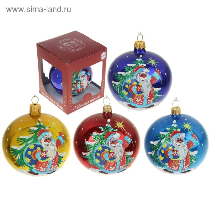 """Новогодний шар ручной работы """"Дед Мороз с ёлкой"""" микс"""