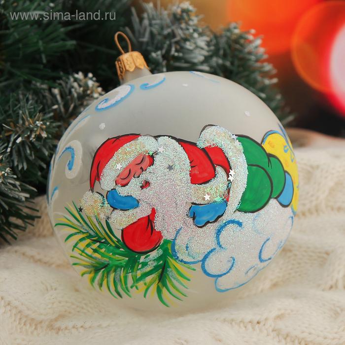 """Новогодний шар ручной работы """"Отдых Деда Мороза"""""""
